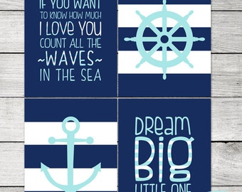 ON SALE Navy and Aqua Nautical 4 Piece Set - Anchor - Wheel, Dream Big - If You Want To Know How Much I Love You - 8x10 - Instant Download