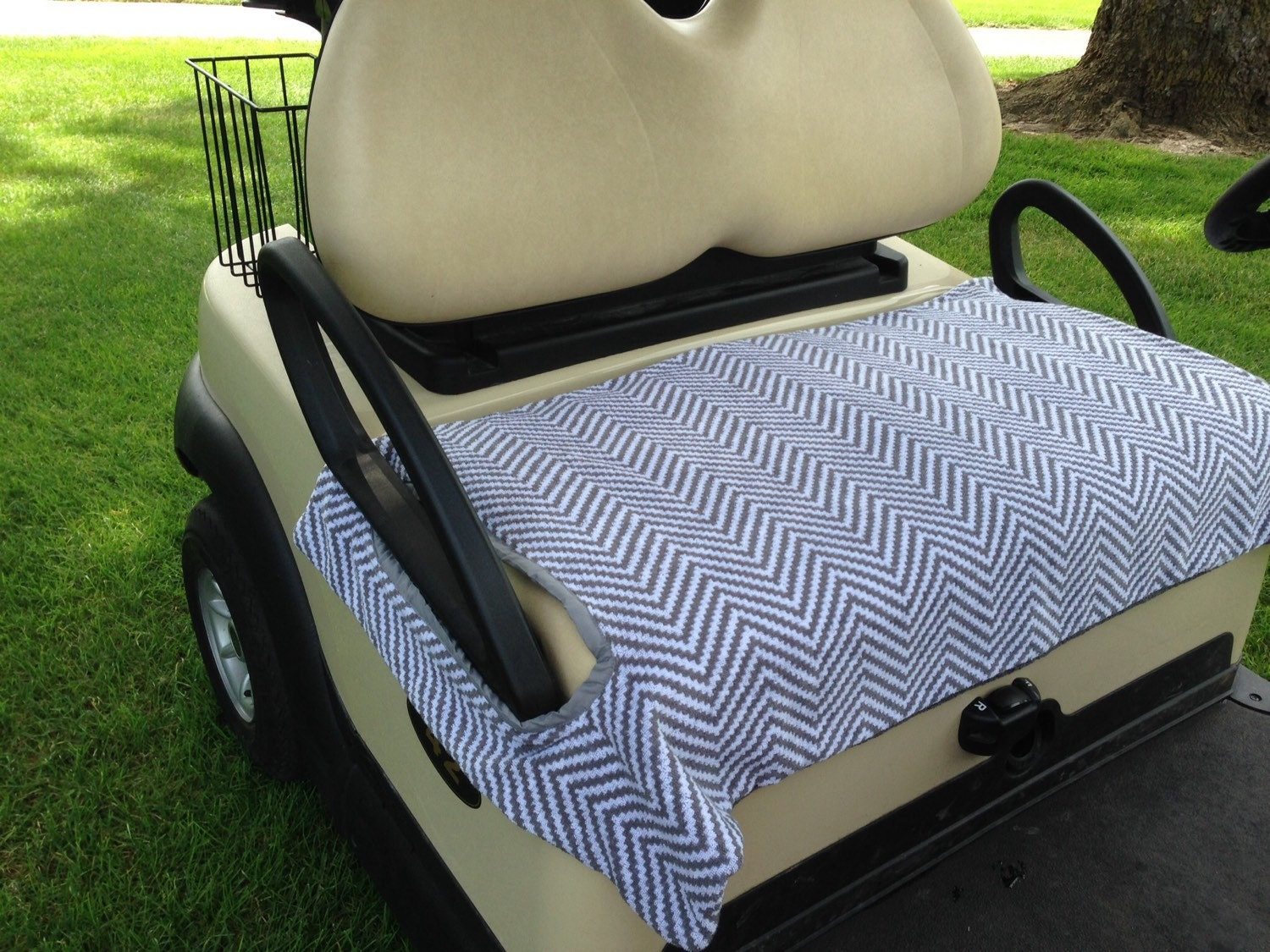 Gray And White Chevron Terry Cloth Golf Cart Seat Cover