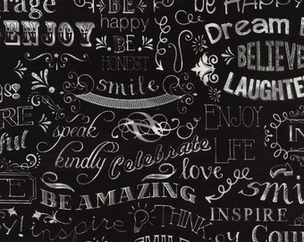 Chalkboard Happy Words Fabric Fat Quarter, Third Yard, Half Yard, or By The Yard; C2786; Novelty Fabric; Timeless Treasures