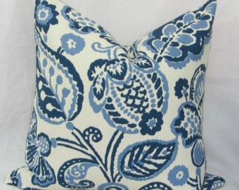 """Navy & periwinkle floral indoor/outdoor throw pillow cover. 16"""" x 16"""". 18"""" x 18"""". 20"""" x 20"""". outdoor pillow cover. P. Kaufmann cover"""