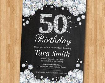 50th Birthday Invitation Chalkboard. Rhinestone Diamond Elegant Birthday Bash invite. Black and White. Ang age. Printable Digital.