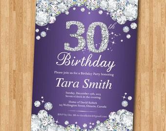 30th Birthday Invitation. Rhinestone Diamond Elegant Birthday Bash invite. Red Purple Pink Blue Teal any color. Ang age. Printable Digital.