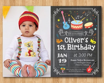 Music Birthday Invitation with Photo. Boy or girl Music Party birthday invitation. 1st 2nd 3rd 4th 5th 6th 7th Any ages. Printable Digital.