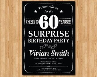 Surprise 60th birthday invitation. Chalkboard. Birthday Party invite. 30th 40th 50th 70th 80th 90th 100th Any age. Printable digital.