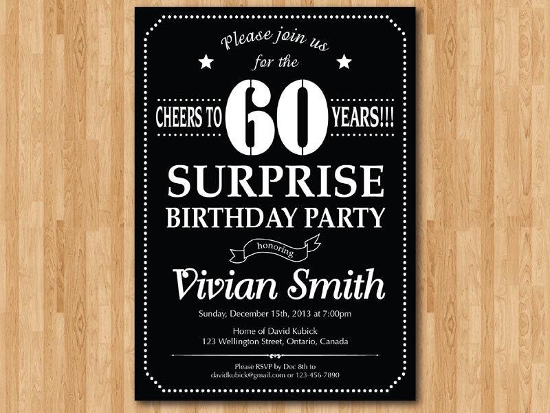 surprise 60th birthday invitation. chalkboard. birthday party, Wedding invitations