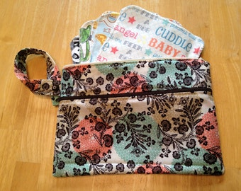 Wetbag Wristlet, Custom Waterproof Wet Bag with Dry Pocket - Makeup Bag, Cloth Pads, Cloth Diapers, Swim Suit Wristlet-- You Choose Fabric