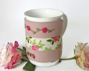 Mug Cozy , Pink Fabric and Floral Mug Cozy ,  Mug Warmer  ,  Coffee Mug Cozy , Tea Cup Cozy ,  Linen  Mug Cup Sleeve
