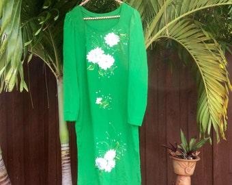 Vintage Handmade Floral Embroidered Cover-Up Dress {medium}