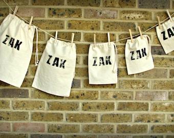 Handprinted name fabric bags set, custom made, personalised