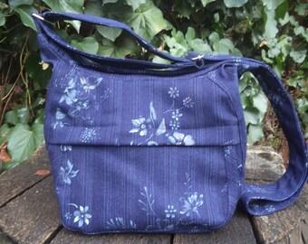 Blue floral jeans shoulder bag,zippered bag