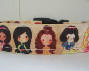 "Cute Princess Dog Collar, 1"" dog collar, personalized collar (2R)"