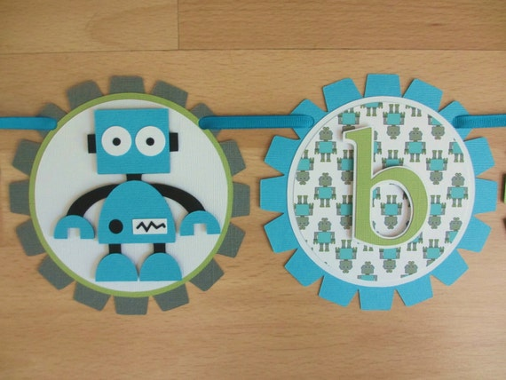 robot baby shower it 39 s a boy birthday party banner sign aqua turquoise