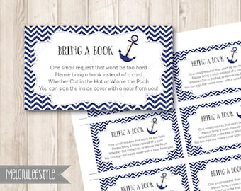 Nautical Book Request Insert, Bring A Book Instead Of A Card, Navy Blue, Anchor Baby Shower Printable, INSTANT DOWNLOAD