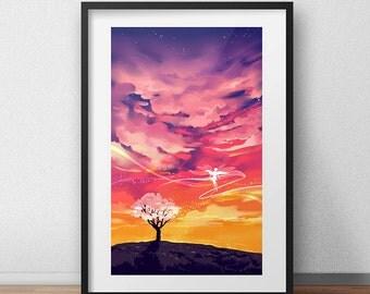 Colorful Art Print Gift Idea, A4 Print, Digital Art, Fantasy Art Print, Fantasy Print, Wall Art Print, Colorful Art Decor Original Art Print