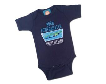 Boy's 'Born Powerboater' Throttleman Baby Bodysuit