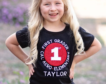 Girl School Shirt with Grade, School and Embroidered Name