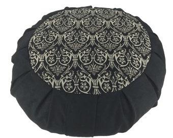 Meditation cushion, floor pillow with organic buckwheat fill. Black Rhapsody