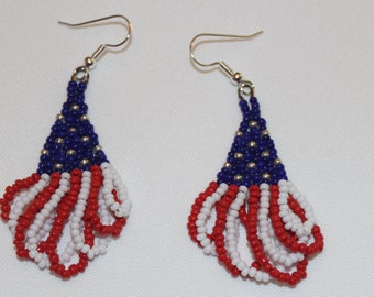 db1140 - Handmade patriotic red, white and blue earrings