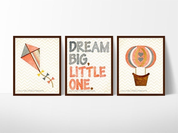 baby girl nursery decor, coral nursery, kite, hot air balloon decorations, dream big little one, whimsical art print set, playful paperwork