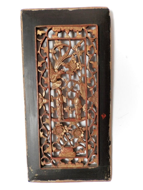 Antique chinese carved wood panel c by
