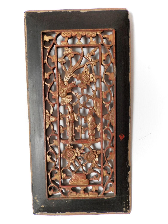 Vintage Wood Paneling: Antique Chinese Carved Wood Panel. C.1800. Asian Art. Vintage