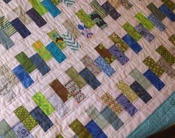 modern patchwork quilt, wedding gift, wedding shower gift, zipper pattern quilt, blue and green quilt, twin size quilt