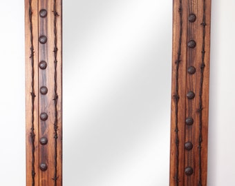 Rancho Adobe Rustic Mirror-20x34 inches-Handmade-Barbed Wire-Western-Spanish-Wall Mirrors