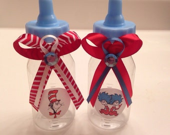 """Cat in the Hat Shower Favors - 50 Fillable Bottles """"Thing 1- Thing 2"""" or """"Cat in the Hat"""" theme"""