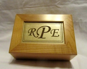 Personalized Wooden Keepsake Box - Custom Engraved Monogram