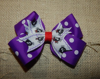 4 Inch Halloween Spider Boutique Bow, Spike Hair Bow, Spider Hair Bow, Halloween Hair Bow, Purple Hair Bow, Polka Dot Hair Bow, Hair Bow