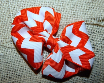 Orange and White Chevron Hairbow, Orange Hair Bow, Chevron Hair Bow, Orange and White Hair Bow, Girls Hair Bow, Hair Bows for Babies, Bows