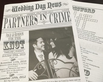 custom newspaper wedding program