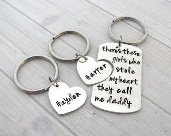 Daddy Daughter Keychain set - Hand Stamped Daddy Keychain - Gift set for Dad