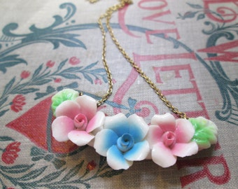 Vintage Pink Blue Porcelain Flower Necklace Rose Choker