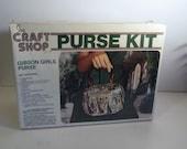 SALE Sears Craft Shop Gibson Girls Purse Kit/ 1970s/ New in Box/ Wooden Purse/ Innovative Storage/ DIY Fashionista/Unique Gift under 30