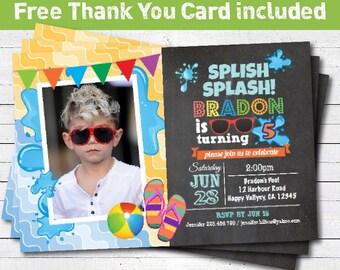 Pool party birthday invitation. Splish splash flip flop chalkboard. Boy birthday. Kids summer pool party printable invitation. KB027