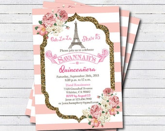 Quinceañera invitation. Pink white glitter gold Paris theme Quinceañera invitation. Eiffel tower french theme. printable invite.SS003