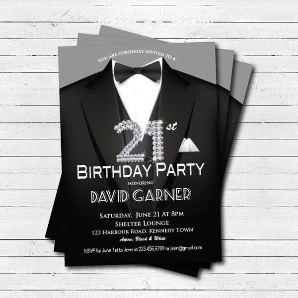 21st birthday invitation man Black tie and suit diamond – Black and White 21st Birthday Invitations