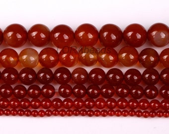 Red Carnelian Natural Agate Gemstone Round Beads 4/6/8/10/12/14mm