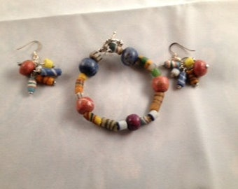 Clay multi-colored beads with earrings