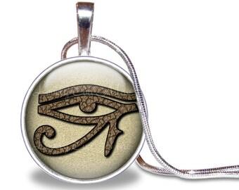Eye of Horus Necklace, Eye of Horus Pendant, Egyptian Jewelry, Horus Jewelry, Egyptian Necklace, Ancient Egypt, Brown, Egyptian Eye, Silver