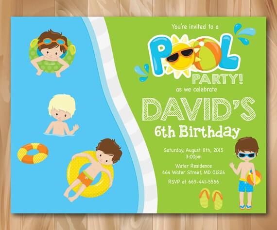 Invitaci n fiesta de la piscina ni o piscina cumplea os for Piscinas infantiles