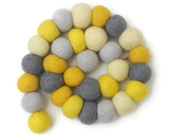 Yellow and Grey Felt Ball Pom Pom Garland - 3metres