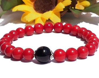 8mm Red Coral Bracelet, Red Coral Jewelry, 10mm Black Onyx Bracelet, Red Ocean Bracelet,Stretch Bead Bracelet,Womens Bracelet,Red Black Bead