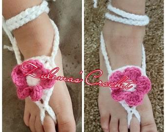 Crochet Baby Barefoot Sandal, Barefoot Sandal, Baby Barefoot Sandal