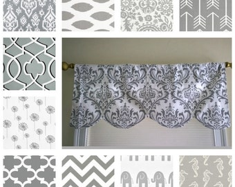 Gray  valance,  window treatment, Gray window curtain, scalloped valance, up to 52 inches wide