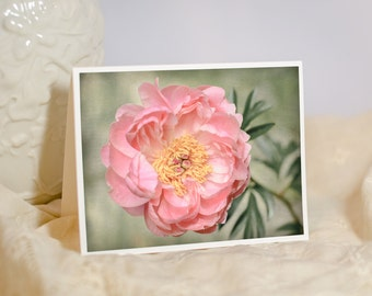 Flower Greeting Card - Peony Photo Note Card - Soft Pastel Pink Peony - Welcome Baby Girl - Birthday Card for Her - Blank or Custom Card