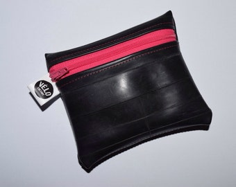 Zip coin purse 'The Penny Pincher' upcycled bicycle inner tube coloured front zipper coin purse - vegan