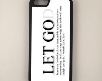 "Let God iPhone 4/4s 5/5s 5c 6 4.7"" 6 Plus 5.5"" Hybrid Rubber Protective Case Christian Faith"