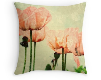 Poppy Throw Pillow, Poppies Cushion, Pink and Green Cushion, Pastel Cushion, Pastel Throw Pillow, Flower Decor, Floral Decor, Gardeners Gift